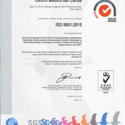 SGS Emite Certificación ISO 9001:2015 de Nuestro Laboratorio